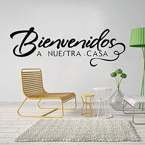 AQjept Bienvenido a Nuestra Etiqueta de Pared con Frase en español, decoración de Letrero de Bienvenida para el hogar, calcomanía de Vinilo, regalo42x15cm