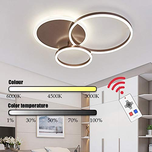 Faus Koco La Manera Creativa Cocina Moderna lámpara de LED de la lámpara de Techo Integrado de Control Remoto Ajustable Ronda Brown (Color : Luz Calida)