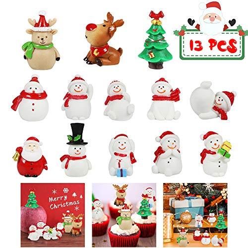 MMTX 13 Stücke Weihnachtsdeko DIY Harz Miniatur Weihnachten Dekoration, X'Mas Decor Kleine Ornamente Figuren Weihnachtsmann Weihnachtsbaum Schneemann Deko Garten Bonsai Puppenhaus Tisch Dekoration