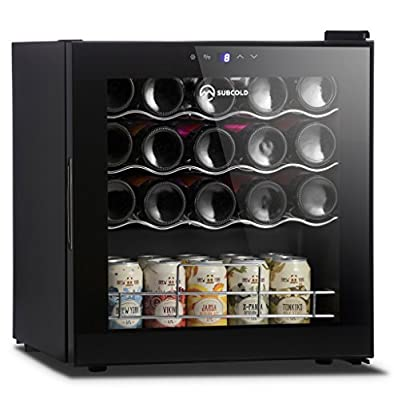 Subcold Super19 LED – Dual Use Wine Cooler | Drinks Fridge | 19 Bottle Capacity | Smart Digital Touch Display | 50L Black Glass [A Class] Low Energy