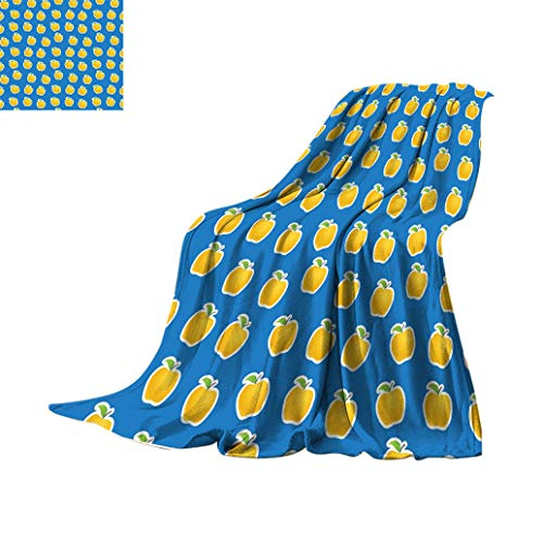 Buy Apple Extra Long Blankets, Yellow Clipart Apples on Blue Background Delicious Vegetarian Food Vi...