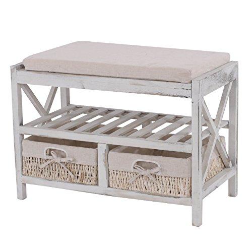 Mendler Schuhregal HWC-C48, Sitzbank Schuhablage, Shabby-Look Vintage 45x65x34cm ~ weiß