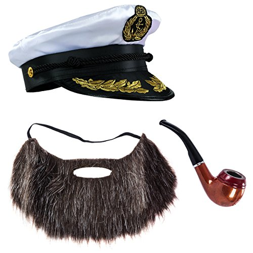 Tigerdoe Sailor Hat - 3 Pc Set - Captain Hat, Pipe & Beard - Ship Captain Costume - Skipper Costume - Yacht Captain Costume