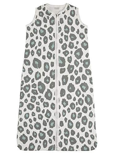 Meyco 411956 Sommer Schlafsack 90cm ungefüttert 100% Baumwolle 6-18 Monate Motiv PANTER Stone Green, mehrfarbig