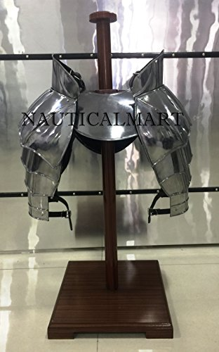 NAUTICAL MART Disfraz de caballero medieval, Pauldrons & Gorget Wearable Armour