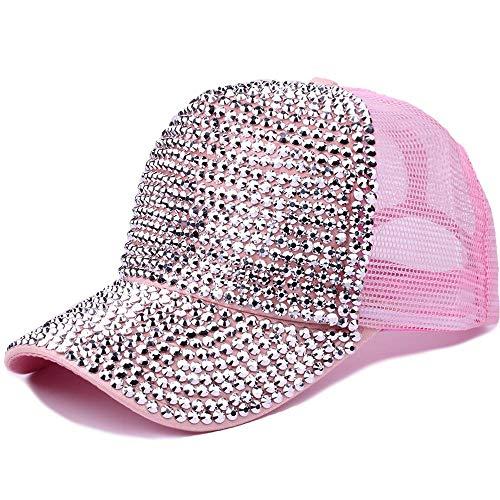 KAILLEET Sombrero De Mujer De Moda para Mujer Personalidad Costuras Gorra De Béisbol Verano Brillante Pedrería con Diamantes Malla Transpirable Visera (Color : 5)
