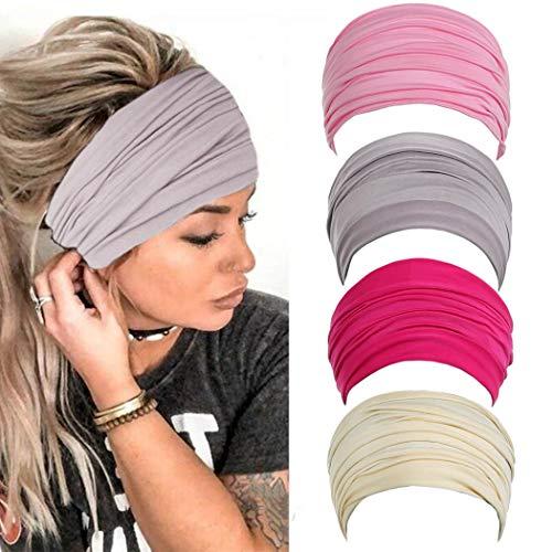 Fashband Wide Bobo Headbands Rust Multipurpose Hair Bands Yoga Stretchy Head Wraps Athletic Headwear Running Fitness Hippie Elastic Head Turbans Scarfs for Women and Girls (Set A)