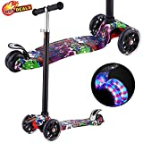Scooters for Kids, Kick Scooter with Adjustable Height | Extra-Wide Deck | PU Flashing 3-Wheels, Cool Scooter for Kid from 2 to 14 Year-Old (Purple Mood Doodle)