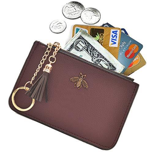 AnnabelZ Coin Purse Change Wallet Pouch Leather Card Holder with Key Chain Tassel Zip(Burgundy)