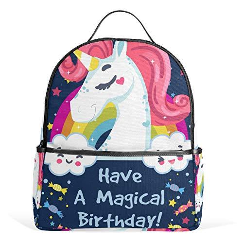 LORONA verjaardagskaart met eenhoorn en boodschap schoolrugzak boekentas voor jongens meisjes en kinderen