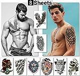 8 fogli di trasferimento temporaneo tatuaggi per ragazzi uomini e adolescenti - adesivi falsi per braccia spalle petto posteriore gambe Aquila tatuaggio per Halloween - realistico impermeabile