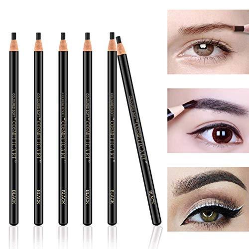 Freeorr 6Pcs Pull Cord Peel-off Augenbrauenstift Tattoo Make-up und Microblading Supplies Set zum Markieren, Füllen und Gliedern, wasserdicht und langlebig Permanent Eyebrow Liner -Schwarz