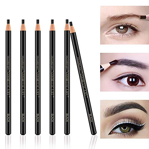 Ownest 6Pcs Pull Cord Peel-off Eyebrow Pencil Tattoo Tattoo Makeup and Microblading Supplies Set for Marking, Filling and Outlining, Waterproof and Durable Lápiz de cejas permanente-Negro