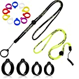 16 Pieces Anti-Lost Lanyard Set, Including 2 Pieces Necklace Lanyards Pendant Holder Lanyard Safety Neck Strap with 14 Pieces Anti-Lost Silicone Ring Soft Pen Protective Ring (Yellow, Black)
