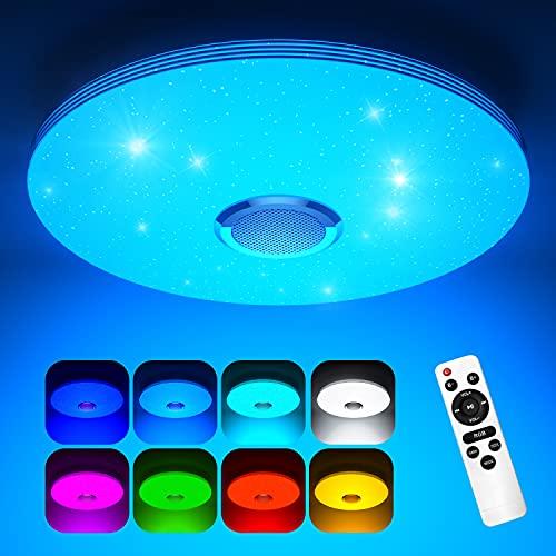 Koicaxy LED Deckenleuchte Dimmbar mit Bluetooth Lautsprecher, Ø 38CM Led Deckenlampe Farbwechsel RGB mit Fernbedienung und APP-Steuerung 3000-6500K Rund für Wohnzimmer, Schlafzimmer, Kinderzimmer