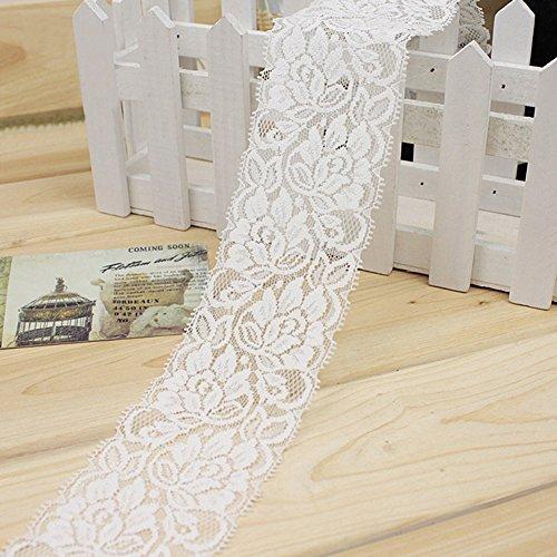 1M Elástico Encaje Trim Flor Cinta Estiramiento Cinta Coser Vestido Falda Ropa Decoración DIY Artesanías (Blanco)