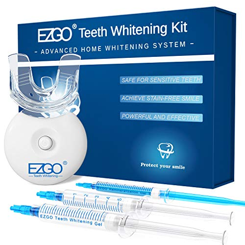 EZGO Teeth Whitening Kit with LED Light, 10 Minute Fast Result Teeth Whitening with 5ML Whitening Gel, Bonus Remineralization Gel for Sensitive Teeth, Included Whitening Tray, Easy Remove Teeth Stains