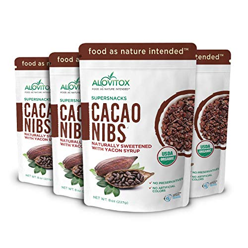 Cacao Nibs Naturally Sweetened with Yacon Syrup | Raw Organic, Sugar Free, Keto, Paleo and Vegan Friendly | Antioxidant and Protein Rich Criollo Chocolate Snack by Alovitox | 2 lb (4 x 8 oz)