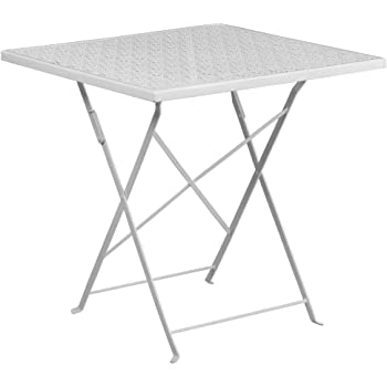 """Flash Furniture Commercial Grade 28"""" Square White Indoor-Outdoor Steel Folding Patio Table"""