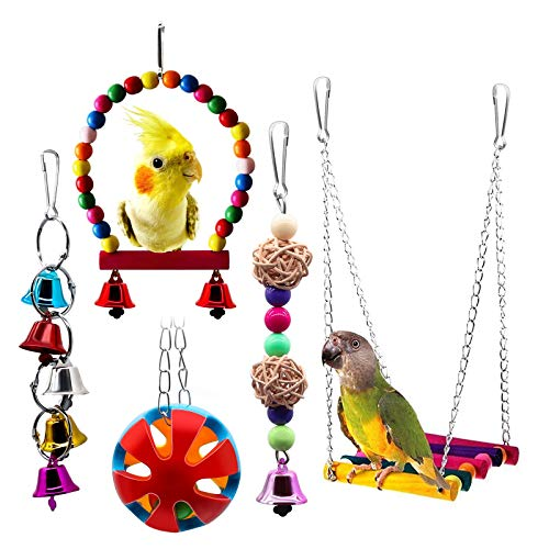 BWOGUE Bird Swing Toys with Bells Pet Parrot Cage Hammock...