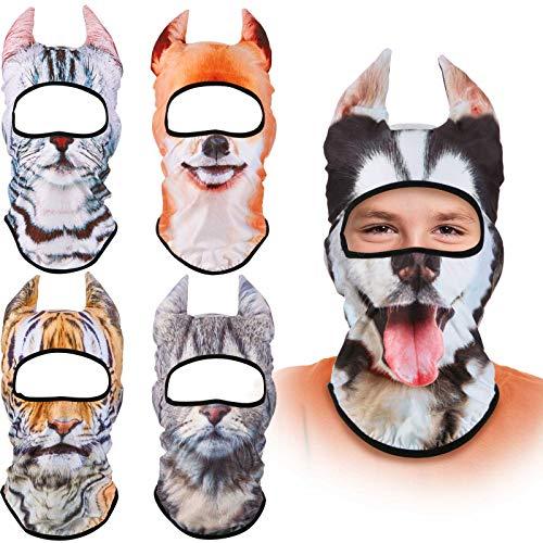 5 Piezas Pasamontañas de Animal 3D de Navidad Bandana Facial con Orejas de Pie para Festivales Músicos Halloween Navidad Actividades al Aire Libre
