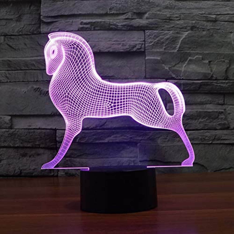 Wuqingren LED Nachtlicht Schlafzimmer Dekor 7 Farben ndern Tier Pferd 3D Trojans Schreibtisch Tischlampe Party Baby Schlaf Leuchte Kinder Geschenke,Remote und berühren