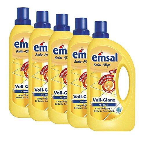 5x emsal Boden-Pflege Voll-Glanz 1 Liter, Langzeitglanz & Brillante Sauberkeit mit Orangenwachs