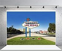 GooEoo 7 x 5FTビニール写真の背景へようこそ都市の建物と素敵なラスベガスのネバダへのサイン水平フレームショットの背景結婚式パーティー旅行大人の芸術の肖像画写真