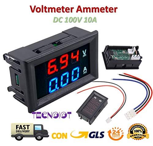 TECNOIOT DC Voltmeter Ammeter Blue 100V 10A + LED Red Digital Voltmeter Double Amplifier Caliber