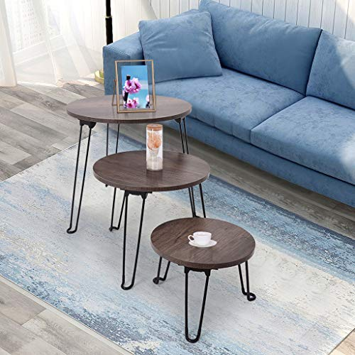 End Tables Set of 3,Vintage Coffee Tables for Living Room,Farmhouse Bedside Table,Snack Table,Nightstand Wood Desk for Bedroom Office,Accent Tables for Small Spaces Home Decor.