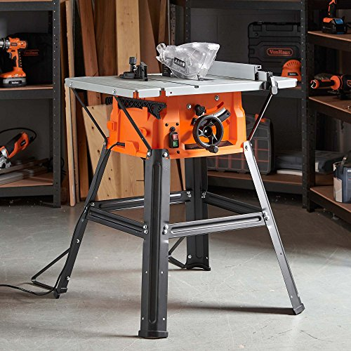 VonHaus Table Saw 8' (210mm) 5000 RPM 15000W - Circular Mitre Function – High Spec with Attachable Table Sides – Make Longitudinal & Angle Cuts with Carbide-Tipped Saw Blade