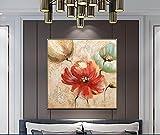 Flores De Plantas Pintadas A Mano Pintura Al Óleo Sobre Lienzo - Resumen De Gran Tamaño Pintura Mural Cartel De Obras De Arte Para La Luz Del Corredor De Lujo De La Entrada Decoración Del Hogar,