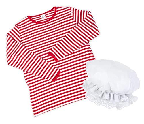 KarnevalsTeufel Kostüm - Set Schlafmütze, 2-TLG. Ringel-Shirt aus Baumwolle und Schlafhaube, rot/weiß, Schlafwandler, Clown | Karneval, Pyjamaparty, Mottoparty (XXL)