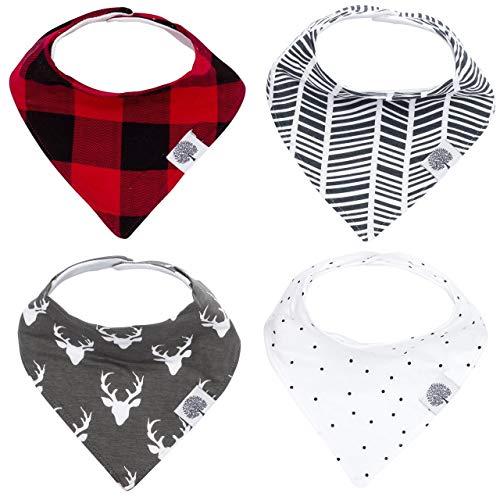 "Parker Baby Bandana Drool Bibs - 4 Pack Baby Bibs for Boys, Girls, Unisex -""Lumberjack Set"""