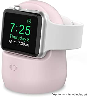 AhaStyle Silicone Stand Dock for Apple Watch Series 5, Series 4, Series 3, Series 2, Series 1, 44mm, 42mm, 40mm, 38mm, Support Night Stand Model【Adapters NOT Included】(Pink)