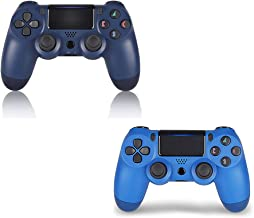 2 Pack PS4 Wireless Controller - DualShock 4 Remote with PS4 Headset Jack for Sony Playstation 4,PS4 Pro/Slim (Wave Blue+Midnight Blue)