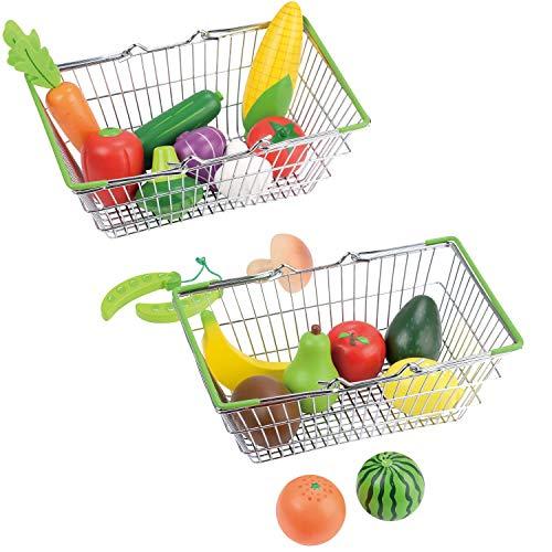Lelin Juguete cesta de la compra de frutas y verduras conjunto creativo simulación jugar juguetes para niños y niñas