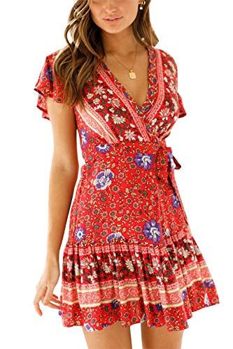 MisShow Damen Chiffon Kleid Elegant Blumen Split Kurz Kleid Weinrot Strandkleid Sommerkleid Gr. S