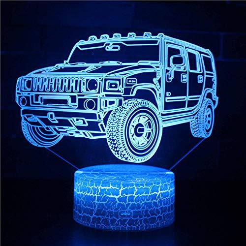 Lámpara 3D de ilusión óptica 3D, luz nocturna 3D, 4 ruedas, 2 táctiles, lámpara de escritorio para dormitorio de niños, cargador USB, regalos bonitos para cumpleaños, Navidad, día de San Valentín