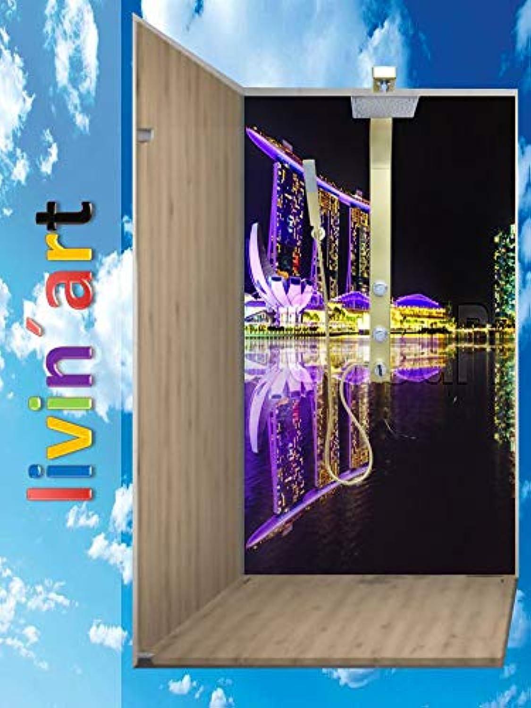 Original LivinART Duschrückwand, Badrückwand, Rückwand - Singapur Marina Bay Sands, Strand Meer und Himmel, ZEN Wasser Spa, Feng Shui, 1 Platte mit 90x200cm