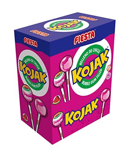 FIESTA Kojak Caramelo con Palo Sabor Sandía Relleno de Chicle - Caja de 100 unidades