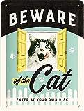 Nostalgic-Art Cartel de Chapa Retro Beware of The Cat – Idea de Regalo para dueños de Gatos, metálico, Diseño Vintage para decoración, 15 x 20 cm