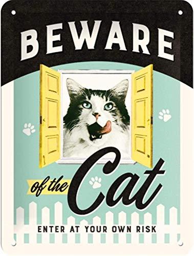 Nostalgic-Art Beware of the Cat – Geschenk-Idee für Katzen-Liebhaber Retro Blechschild, aus Metall, Vintage-Design zur Dekoration, 15 x 20 cm