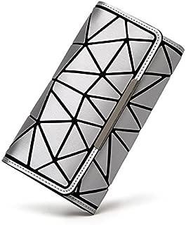 Elios Women's Luxurious Geometric Luminous Fashionable Silver Synthetic Clutch Handbag Wallet