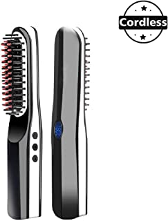 Beard Straightener Brush, USB Charger Hair Straightening Brush with Cordless/Anti Scald/Auto Shut Off/Mini Sized for Travel/Home, 2 in 1 Multifunctional Hair Comb Curling Iron for Men Women