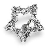 Blanc Cristal Pierre Contour-Star Inverse Bar Sterling Silver Ventre Barres Piercing