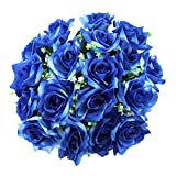 Ramo de rosas abiertas de 18 cabezas XL Flores artificiales de seda de alta calidad [dos tonos azules, no aplicables]