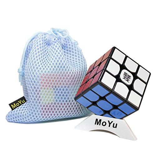 FunnyGoo MoYu WeiLong GTS Magic Speed Cube, con una Bolsa de Cubo y un Soporte de Cubo (Negro)