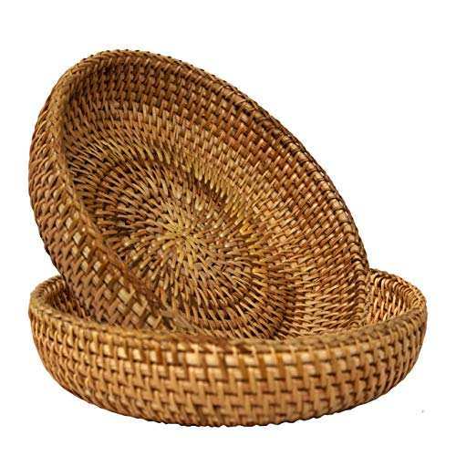Premium Wicker Small Hand Woven Bread Serving Basket Display Storage Basket for Fruit Candy Cake Bread Snack Or Storage for Keys, Wallet, Cell Phone and Small Items (2 Pack) (Natural)