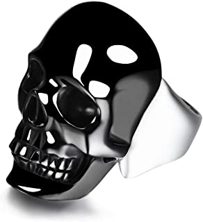 Black Obsidian Carved Gemstone Crystal Skull with Sterling Silver Ring, Skull Jewelry.